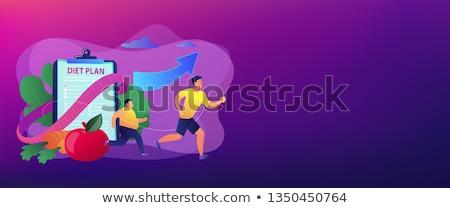 Fogyás vektor metafora női táplálkozástudós rajzfilmfigura Stock fotó © RAStudio