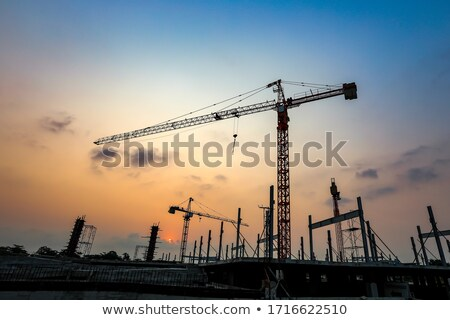 construction · grue · crépuscule · silhouettes · pont · coloré - photo stock © paha_l