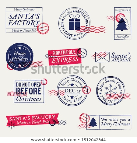 セット · クリスマス · スタンプ · カード · 笑みを浮かべて · 休日 - ストックフォト © orson