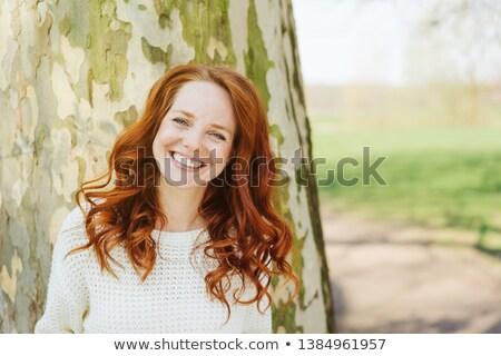 mulher · jovem · ao · ar · livre · floresta · cão · sensual · retrato - foto stock © pekour