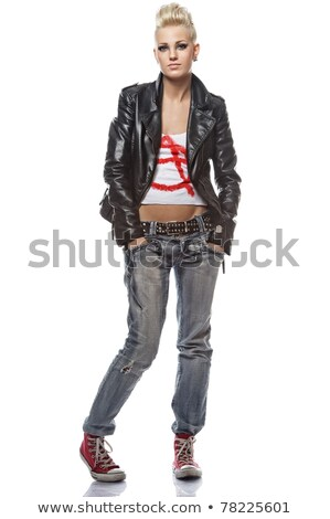 Portrait of a punk girl, isolated on white background  Stock photo © dacasdo