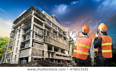 Man with helmet and radio transmitter Stock photo © photography33