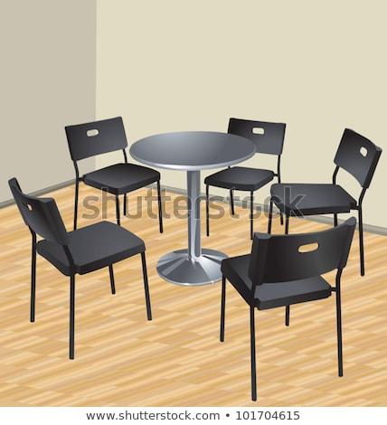 пять · стульев · таблице · интерьер · сцена · небе - Сток-фото © sigur