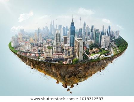 üzlet város sziget repülőgép zöld égbolt Stock fotó © WaD