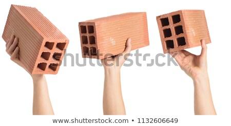 Mason cegły tekstury budynku narzędzie Zdjęcia stock © photography33
