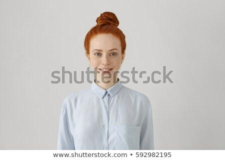Portré fiatal női vörös hajú nő lány szeplők Stock fotó © gromovataya