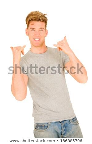 Fiatalember készít bő kéz kezek mosoly Stock fotó © ambro