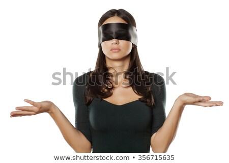 meisje · sexy · vrouw · Rood · lingerie · geblinddoekt · vrouwen - stockfoto © acidgrey
