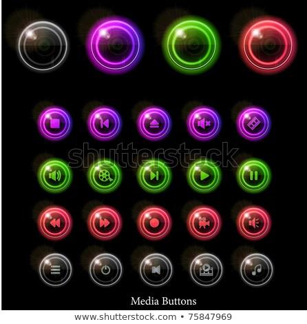 свет СМИ остановки играть Кнопки неоновых Сток-фото © liliwhite