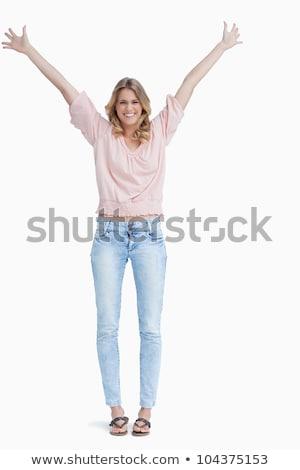 Mosolygó nő karok a magasban fehér táncos előadás fehér háttér Stock fotó © wavebreak_media