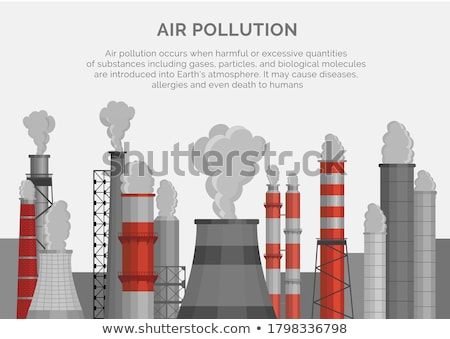 Air pollution cloud from factory stalk Stock photo © krabata