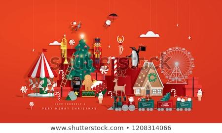 Noel baba şemsiye Noel kız elbise Stok fotoğraf © stepstock