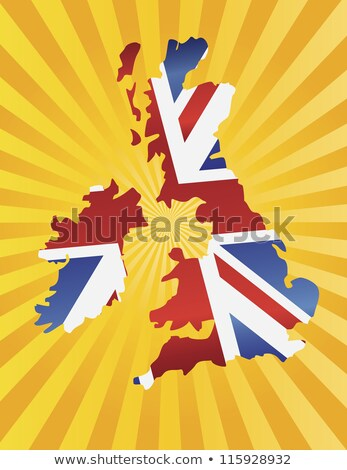 Stockfoto: United Kingdom Map With Flag Sun Rays