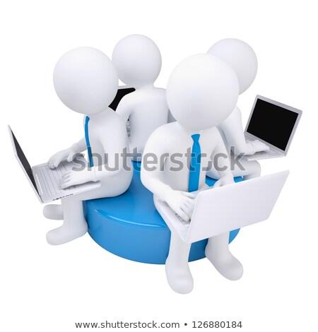 3D karakter vergadering net domein teken Stockfoto © Kirill_M