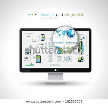 Idővonal terv modern hd képernyő számítógép Stock fotó © DavidArts