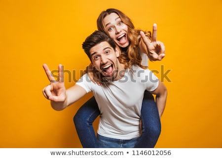 幸せ · シニア · 男 · 親指 · アップ · 座って - ストックフォト © meinzahn