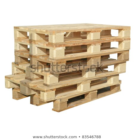 pile of wooden pallets isolated on white background stock photo © loopall