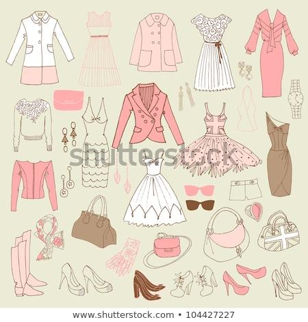 Elegáns kézzel rajzolt szett nők divat vásárlás Stock fotó © sidmay