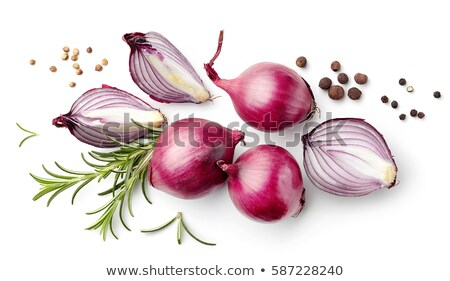 Stock photo: red onion and rosemary leaves