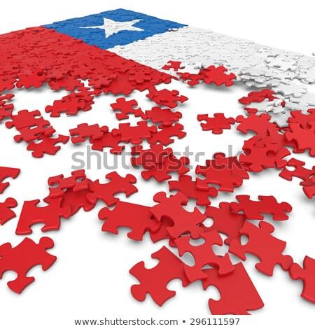 Chile zászló puzzle izolált fehér absztrakt Stock fotó © Istanbul2009