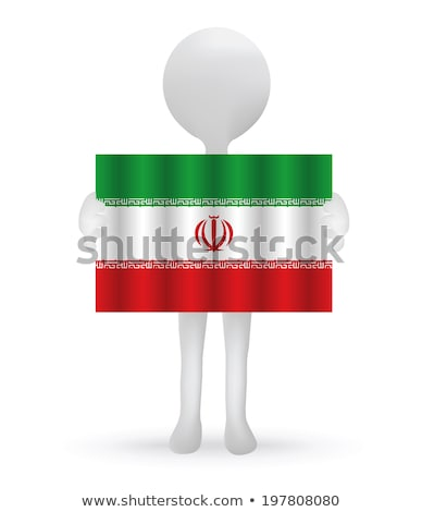 Stock photo: small 3d man holding an Iranian Flag