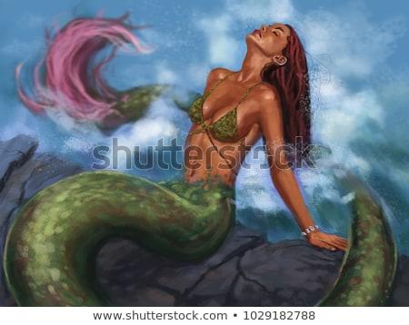 женщину · глубокий · синий · морем · фантазий · девушки - Сток-фото © nejron