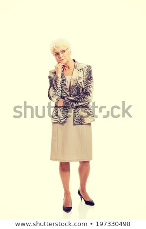 Senior vrouw permanente hand kin portret Stockfoto © bmonteny
