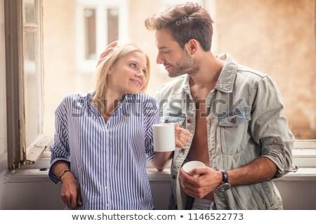 Meghitt pár szeretet fehér férfi forró Stock fotó © stryjek