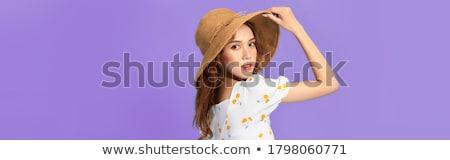 довольно женщину соломенной шляпе молодые красный Top Сток-фото © smithore