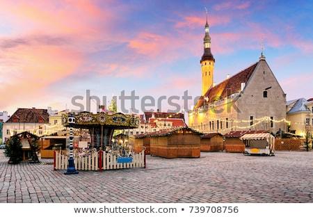 有名な · 歴史的 · 町役場 · 青空 · 壁 - ストックフォト © vwalakte