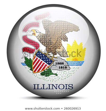Map with Dot Pattern on flag button of USA Illinois State Stock photo © Istanbul2009