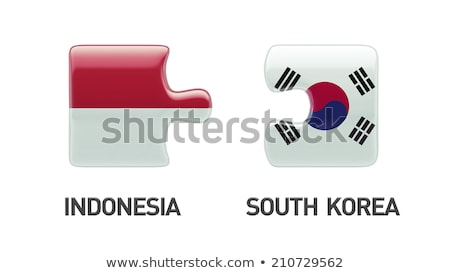 Indonézia Dél-Korea zászlók puzzle vektor kép Stock fotó © Istanbul2009