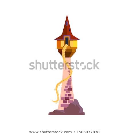 Illustratie sprookje slot toren groene bladeren Stockfoto © penivajz