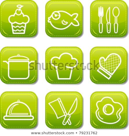 Vector graphic icon sticker set of prepared food Stock photo © feabornset
