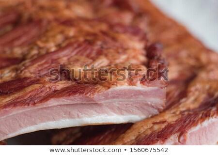 Set of smoked bacon and fresh bacon Stock photo © jiaking1