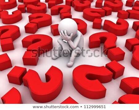 3d · ember · sok · kérdőjelek · fehér · oldal · szög - stock fotó © nithin_abraham