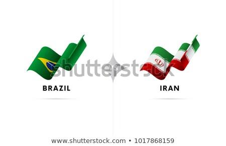 Brazília Irán zászlók puzzle izolált fehér Stock fotó © Istanbul2009