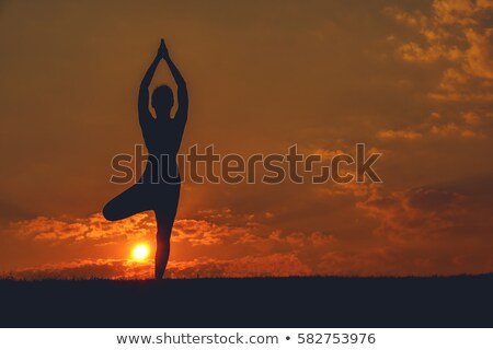 Silhouette practicing yoga Stock photo © ankarb