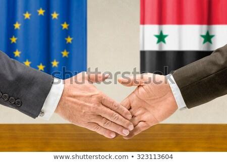 europa · Síria · bandeira · misto · tridimensional · tornar - foto stock © zerbor