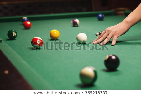 Billiard Cue Aiming on Ball Stock photo © angelp
