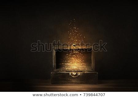 öreg kincsesláda 3D szívek érmék fa Stock fotó © giko