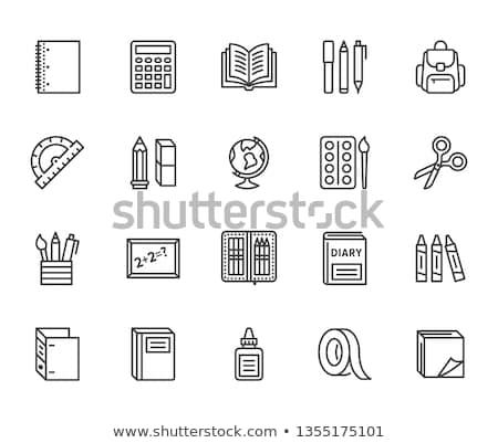 школьные принадлежности линия икона уголки веб мобильных Сток-фото © RAStudio