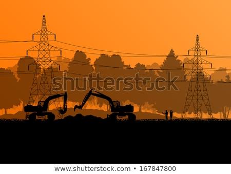 építkezés elektomos torony építkezés természet háttér Stock fotó © meinzahn