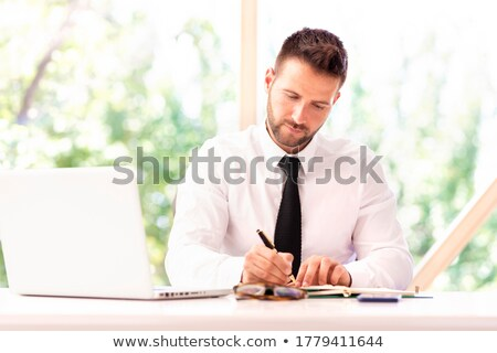 empresário · escrita · algo · masculino · vidro · conselho - foto stock © deandrobot