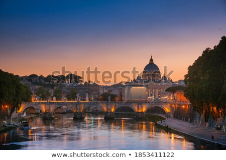 Vatican dome of San Pietro and Ponte Sant'Angelo, Italy. Stock photo © dezign80