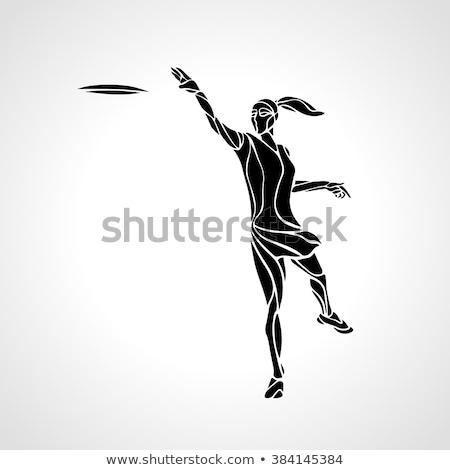Vrouw spelen vliegen schijf asian park Stockfoto © RAStudio