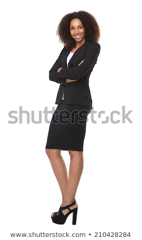 Stockfoto: Portret · mooie · smart · vrouw · zwart · pak · permanente