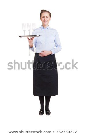 Smiling Waiter Holding Tray Of Champagne Stock photo © AndreyPopov