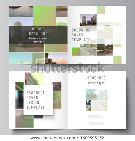 abstract bifold business brochure design template with green sha Stock photo © SArts