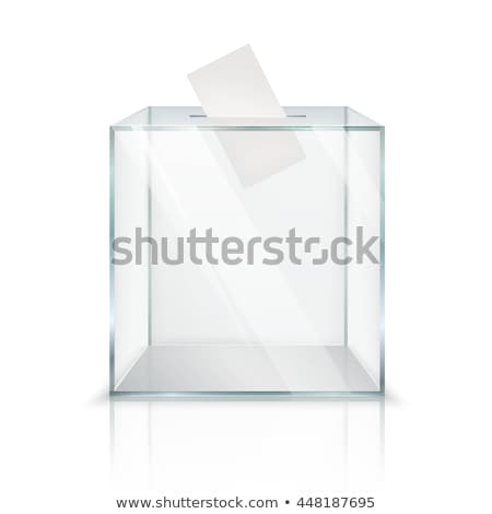 Realistic empty transparent ballot box with voting paper and flag of France and Europe Union, 3d ill stock photo © tussik